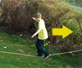 walking backwards on slackline
