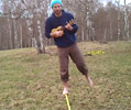 Playing musical instrument while slacklining