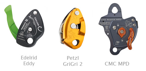 Examples of rope brakes - Edelrid Eddy, Petzl GriGri 2 and CMC MPD