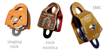 Examples of pulleys - singing rock, rock exotica and SMC